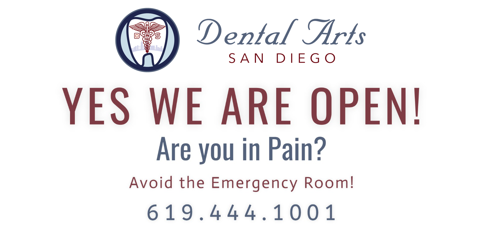 Yes, We Are Open. In pain? Avoid the emergency room!